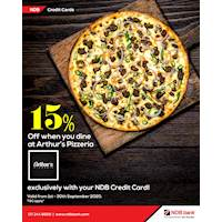 Enjoy 15% savings when you dine in at Arthur's Pizzeria. Offer available exclusively for NDB Credit Cardholders