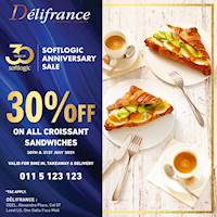 Enjoy 30% off on all Croissant Sandwiches at Delifrance