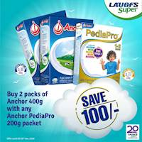 SAVE Rs. 100 - Buy 2 packs of Anchor 400g with any Anchor PediaPro 200g packet.