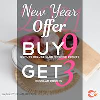 New Year Offer - Buy 9 Get 3 Free at Gonuts with Donuts