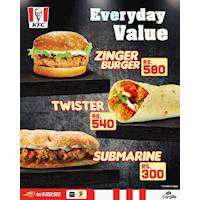 Treat yourselves to a scrumptious KFC feast any day you like with our great value prices!