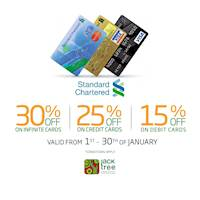 Get up to 30 % off with Standard Chartered Cards at Jack Tree