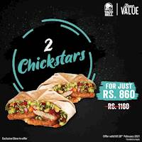 2 Chickstars for just Rs. 860 at Taco Bell