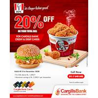 Experience 20% off on your total bill at KFC for Cargills Bank Credit & Debit cards.
