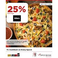 Enjoy 25% savings on the total bill at Arthur's Pizzeria with DFCC Credit Cards!