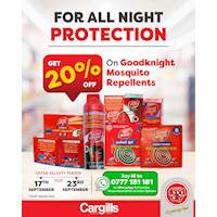 20% OFF on Goodknight Mosquito Repellent at all Cargills FoodCity!