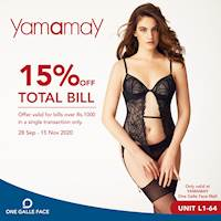 15% Off on Total Bill at Yamamay One Galle Face Mall