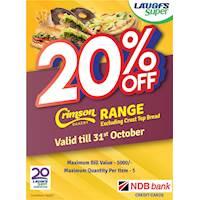 Enjoy 20% off discount on Crimson bakery product Range Valid for NDB Bank Credit Card
