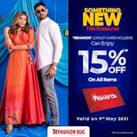 15% OFF on all items when you shop with your Fashion Bug Rewards Card at Fashion Bug