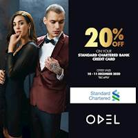 Enjoy 20% Off your purchases when you shop with your Standard Chartered Bank Credit Card at ODEL