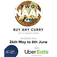 Buy any Indian Curry and get 2 Naans Free only on Uber Eats at Indian Summer