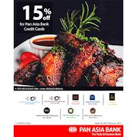 Enjoy 15% off on selected restaurants for Pan Asia Bank Credit Cards