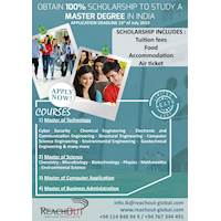 OBTAIN 100% SCHOLARSHIP TO STUDY A MASTER DEGREE IN INDIA