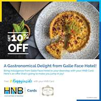10% off on Food Delivery orders from Galle Face Hotel using your HNB Card