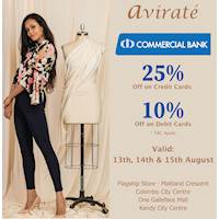Enjoy a 25% SAVING with your Commercial Credit Card & 10% SAVING with your Commercial Debit Card at Avirate