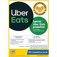 Special UBER Eats Promotion with ComBank Credit and Debit Cards at CheeseHeads