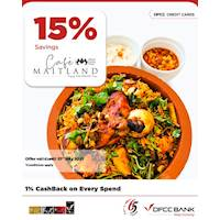 15% savings on delivery menus at Cafe Maitland - Mount Lavinia Hotel with DFCC Credit Cards!