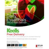 Enjoy FREE DELIVERY for orders via keellssuper.com & Keells Mobile App purchases with your Seylan Credit Card!