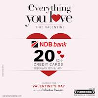 20% OFF for NDB Bank Credit cards at Hameedia