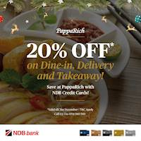 Get 20% off your total when you pay for Dine-in, Takeaway or Delivery with your NDB Credit Card at PappaRich