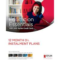 Get 12 month 0% instalment plans on education transactions with your Seylan Credit Card