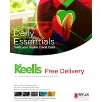 FREE DELIVERY for your Daily Essential orders with your Seylan Credit Card at Keells