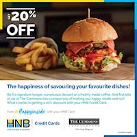 20% off on dine-in, takeaway & delivery at The Commons Coffee House for your bills above LKR 2,000 using your HNB Credit Card!