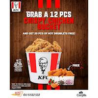 Grab a 12pcs bucket and get 20pcs hot drumlets free at KFC Sri Lanka