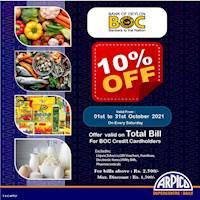 10% off on total bill for BOC Credit Cards at Arpico SuperCentre