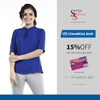 Get 15% discount for anagi debit cards from Commercial bank at Spring & Summer