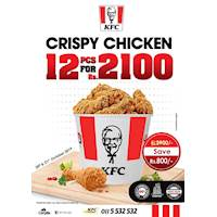 Crispy Chicken Surprise! Share with a loved one or friend and enjoy our 12 PC Bucket for only Rs.2100!