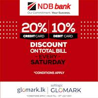 Save up 20% DISCOUNT for NDB Bank Cards at Softlogic GLOMARK