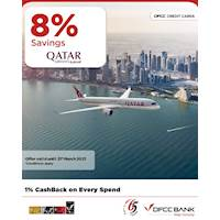 Enjoy 8% savings on Economy Classic, Economy Convenience, Business Classic and Business Comfort Fare Families when you fly with Qatar Airways with DFCC Credit Cards!