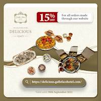 15% off on orders made through our website at Galle Face Hotel