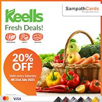 20% off on fresh vegetables, fruits and seafood at all Keells Super and Super K outlets for all Sampath Mastercard & Visa Credit Cardholders