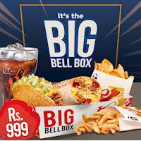 BIG BELL BOX which will satisfy all your Crunchy, Spicy, Sweet & Cheesy Cravings! It's got all your favourites for just Rs999!