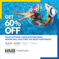 Get 60% off at Avani, exclusively with your HNB Credit Card!