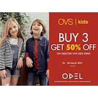 Buy three items of OVS Kids and enjoy a discount of 50% at ODEL