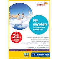 Up to 21 % Discount for Combank Credit cards on base fare when you purchase tickets at www.crazyjets.com
