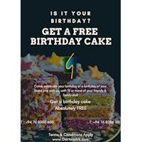 Get a Free cake when celebrating your birthday.