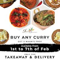 Buy any curry and get 2 naans Free at Indian Summer