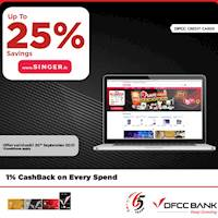 Enjoy up to 25% savings on selected products at singer.lk with DFCC Credit Cards!