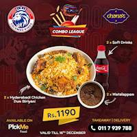 Your favourite Hyderabadi Dum Biriyani with soft drinks and watalappam for Rs.1190 at Chana's