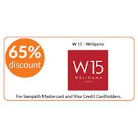 65% discount on double room bookings on full board stays at W 15, Weligama for all Sampath Mastercard and Visa Credit Cardholders.