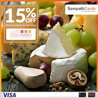 15% OFF on top-notch imported cheese, cold cuts and dry items atwww.luxecolombo.comExclusively for Sampath Visa Infinite and Visa Signature Credit Cardholders.