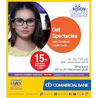Enjoy a 15% discount on Spectacles with ComBank Credit Cards at Vision Care