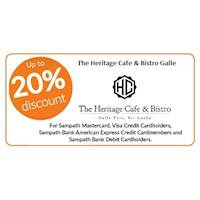 Upto 20% OFF for Dine- In at Heritage Cafe & Bistro, Galle with Sampath Bank Cards