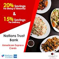 Enjoy up to 20% saving on Nations Trust Bank American Express credit cards at Chinese Dragon Cafe