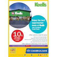 10% Discount for credit cards at Keells with Commercial Bank Cards