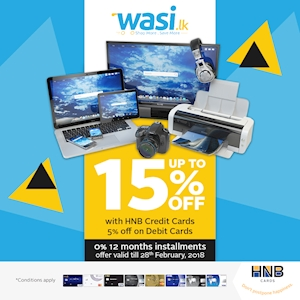Up to 15% Off on HNB Credit Cards and Installment Plans at Wasi.lk